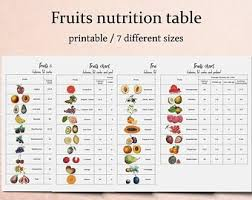 Calorie Chart Vegetables Chart Kitchen Printables Vegetable Nutrition Etsy