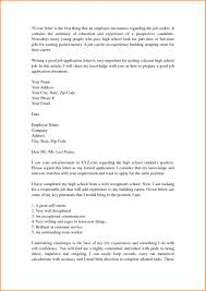 High School Student Summer Jobs Resume Cover Letter Examples For High School Students Of Sample