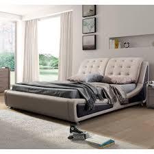Creations Upholstered Platform Bed Beige Slashbuycom