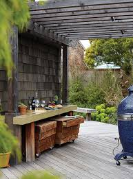 Backyard Deck With Wooden Pergola Decor