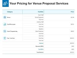 Pricing Templates For Services Your Pricing For Venue Proposal Services Ppt Powerpoint