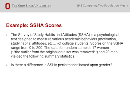 chapter two sample problems stat connecting chapter to our  example ssha scores ▸ the survey of study habits and attitudes ssha is