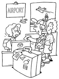 Kleurplaat Incheckbalie Op Het Vliegveld Kleurplatennl Pays Et