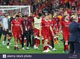 Liverpool Spieler bei der Siegerehrung nach dem Finale der UEFA Champions  League 2018 Spiel vor Real Madrid in Kiew Stockfotografie - Alamy