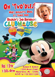Mickey Mouse Clubhouse 2nd Birthday Invitations Mickey Mouse Clubhouse Custom Birthday Invitations