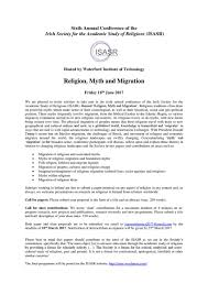 brad anderson bradaanderson twitter isasr 6th annual conference callforpapers waterfordit religion myth migration cfp relcfp mythology religions waterford pic com