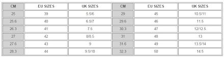 Ecco Shoe Chart Ecco Size Guide