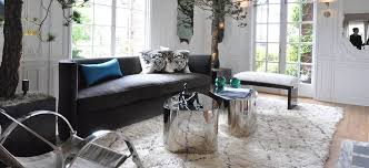 interior design with grey sofa and moroccan rug