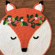 woodland fox nursery rug crochet pattern by deborah o leary patterns