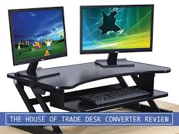 standing desk converter dual monitor. Plain Dual Two Desktop Monitors And Keyboard With The House Of Trade Standing Desk  Converter To Standing Desk Converter Dual Monitor L