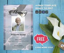 Eagle Sky Funeral Program Template Obituary Program Memorial Program Template Microsoft Word And Publisher Template