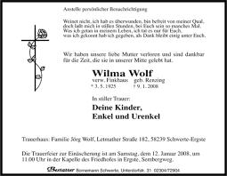 Traueranzeigen von Wilma Wolf | WAZ.Trauer.de