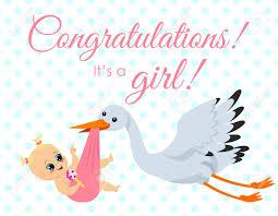 Newborn Congratulation Card Vector Illustration Of Greeting Card With Stork Carrying Newborn