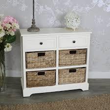 cau range ivory wicker storage unit two drawer four baskets
