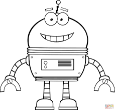 Small Picture Smiling Robot coloring page Free Printable Coloring Pages