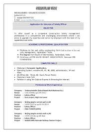 Safety Officer Sample Resume