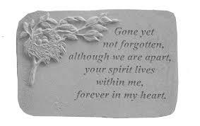 memorial stone gone yet not forgotten w bird s nest