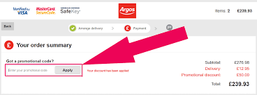 it looks like this enter a promo code at argos trolley