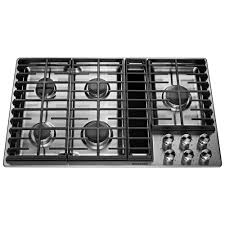 kitchenaid 36 in gas downdraft cooktop in stainless steel with 5 burners