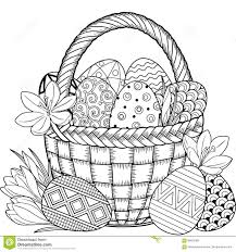 happy easter black and white doodle easter eggs in the basket coloring book