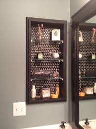 replace medicine cabinet. Glass Shelving To Replace Medicine Cabinet Black Hex Tile Backing And