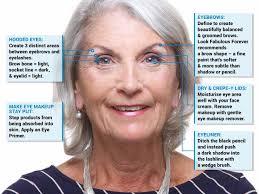 older woman using makeup to disguise hooded eyes and dark eyelids