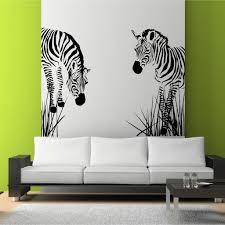 Zebra Living Room Decor Zebra Vinyl Wall Decal Wild Zebra Grass African Wall Art