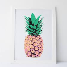 printable art pineapple wall art print pink green and yellow