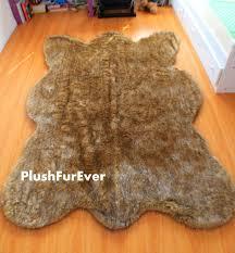 Faux Bearskin Rug Brown Tip Wolf Faux Fur Rugs Bearskin Shape Pattern Modern