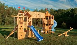 wonderful outdoor playsets for outdoor kid playing frolic 799 wooden swing set and outdoor playset