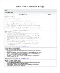 Annual Employee Self Evaluation Examples Appraisal Assessment Form ...