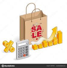 Shopping Bag Calculator Growth Chart Stats Percent Big Sale
