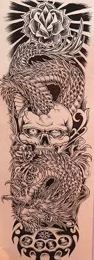 тату рукав череп змея дракон кастет роза большой 17 купить с доставкой из