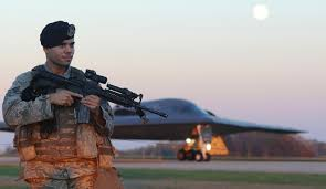 air force magazine richie madrigal a response force member of the 509th security forces squadron at whiteman afb mo stands watch at the base as a b 2a spirit stealth