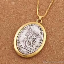 whole catholic patron saint pendant michael st michael the archangel 2inch pendant necklace 24 chain n1779 silver necklace chain heart shaped pendant
