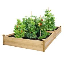 details about cedar raised garden bed planter flower elevated vegetable box wood gardening kit