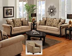 brown sofa sets. Ideas \u203a Living Room Sofa Sets Rustic Indian Furniture Printed Microfiber Set With Studded Accents Soft Brown Sofas And Black Table