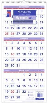 At A Glance 3 Month Calendar At A Glance 3 Month Reference Vertical Wall Calendar 14 Months