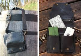 happy cow leather hip bag outside and inside