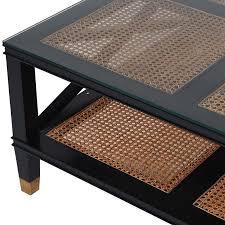 melbourne black rattan glass square