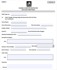 Construction Incident Report Template 16 Free Word Pdf Format