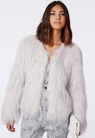 missguided cassie gy faux fur coat grey