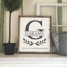monogram crest family framed wood sign 18 21