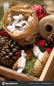 gifts and homemade toffee in decorations rustic style stock photo