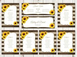 Browns Seating Chart 2017 Rustic Wedding Seating Chart Template Sunflower Stripes