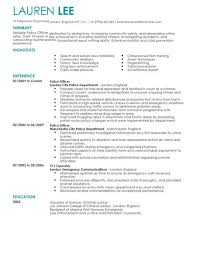 Resume Template Office Best Police Officer CV Template CV Samples Examples
