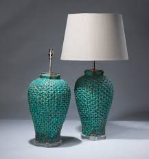pair of large blue mesh ceramic lamps on perspex bases