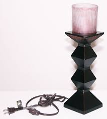 hampton bay accent table lamp uplight 14 5 black bronze gothic distressed glass