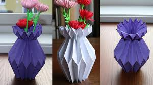 Flower Vase With Paper How To Make A Paper Flower Vase Diy Simple Paper Craft Youtube