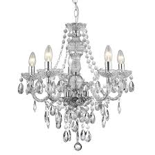 marie therese 5 lamp clear finish chandelier ceiling light